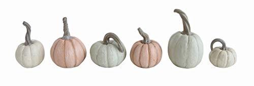 Creative Co-op Pumpkin Figurines with Distressed Finish 6-Piece Set ()