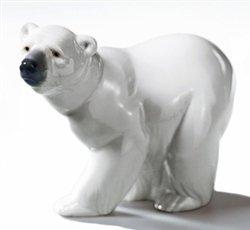 Lladro Bear, White, Figurine