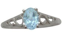 SIZE 3 Genuine Sterling Silver Genuine Blue Topaz Oval Gemstone Baby Ring