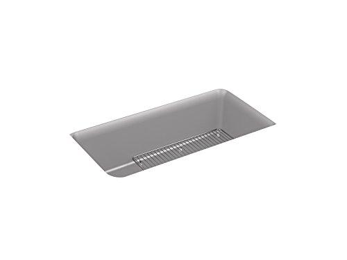 Kohler Bowl (KOHLER 8206-CM4 Cairn Under-Mount Single-Bowl Kitchen Sink with Basin Rack 33-1/2