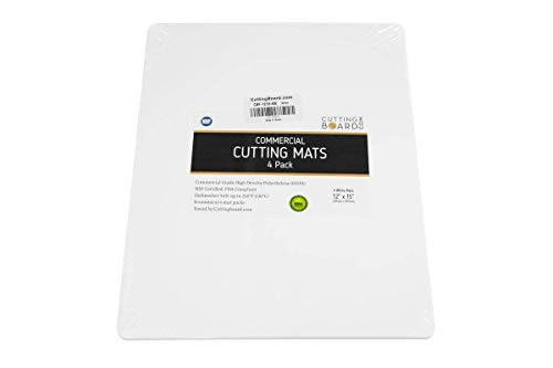 Commercial Grade Cutting Board Mat - NSF Certified HDPE (4 Pack) (15 x 12 Inch, White (4 ()