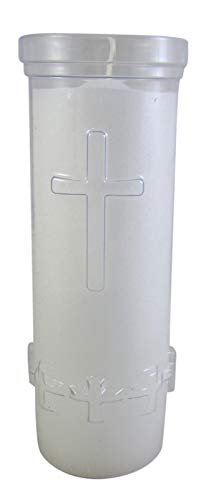 Trinity Church Supply 7 Day White Pillar Sanctuary Candle with Cross Design