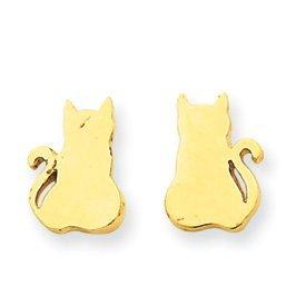pricerock 14k gold cat earrings co uk jewellery