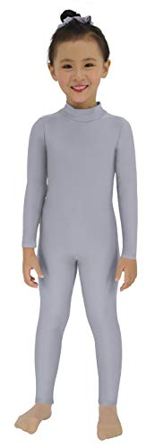 Gray Cat Costume (Speerise Girls Kids Spandex Long Sleeve Full Body Unitard Costume for Child, Gray,)