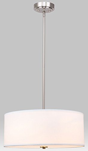 Kira Home Nolan 18'' Classic Drum Chandelier, Stem-Hung Adjustable Height, White Fabric Shade + Glass Diffuser, Brushed Nickel Finish by Kira Home (Image #3)