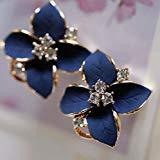(HuntGold 1Pair Flower Earring Fashion Women Ladies Rhinestone Ear Stud Earring(blue) )