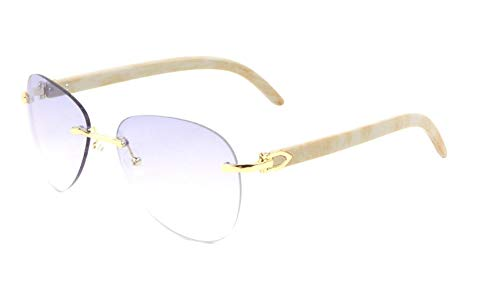 Marshal Metal & Faux Wood Rimless Aviator Sunglasses (Gold & White Marble Frame, Blue Gradient Lenses)