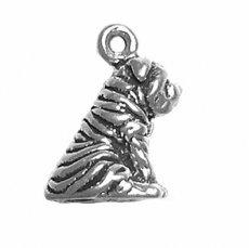 (Sterling Silver 3D Shar-pei (or Sharpei) Dog Charm Item)