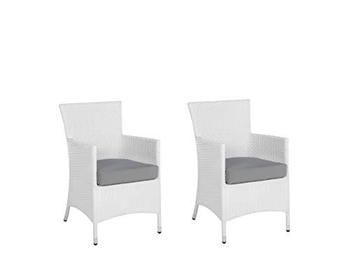 Beliani Modern Outdoor Rattan Chairs Set of 2 White