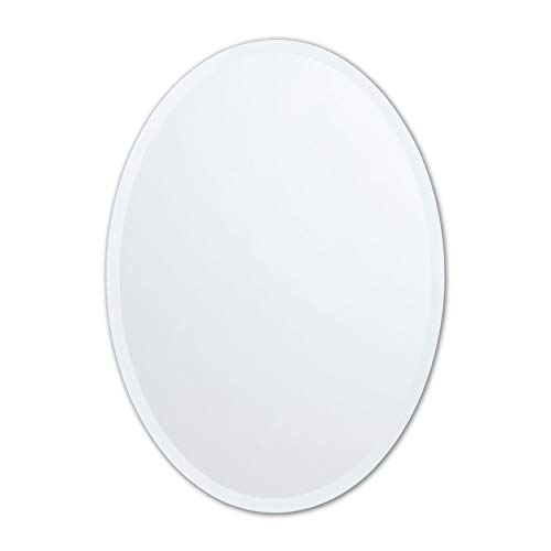 Large Frameless Beveled Oval Wall Mirror | Bathroom, Vanity, Bedroom Mirror | -
