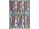 (Joy Carpets Playful Patterns Children's Jumbo Crayons Area Rug, Chalkdust, 3'10