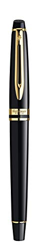 Waterman Expert Black with Golden Trim, Fountain Pen with Fine nib and Blue ink (S0951640) by Waterman (Image #5)