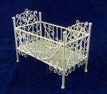 Vanity Fair Dolls House Miniature Nursery Furniture White Wire Wrought Iron Baby's Cot Crib