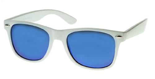 WebDeals Retro - Sunglasses Classic 80's Vintage Style Design Polarized or Standard Lens…(White, Blue Revo) (Retro Designer Clothing)
