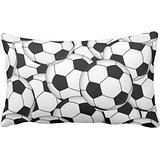 Himoud Soccer Ball Collage 50% Cotton 50% Polyester 20 x30 inches Pillowcase