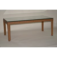 LLS 【軽量ラタン調テーブル屋内外使用可】四角ガラステーブルロータイプ ブラウン B072KCS9P2ブラウン