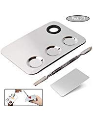 (Fastcar7 3-wells Stainless Steel Cosmetic Palette Makeup Palette,Ring Makeup Mixing Palette,Nail-art Artist Mixing Palette with Spatula Tool for Mixing Foundation Silver Pack of 3 )