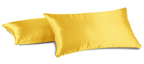 Aiking Home 100% Polyester Bridal Satin Luxury Pillowcases - Set of 2 Invisible Zipper Pillowcases - Machine Washable - (Standard 20x26 inch, Yellow)