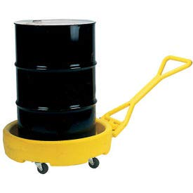 Eagle 1613 Yellow Polyethylene Mobile Dispensing Drum Bogie with Push Pull Handle, 1375 lbs Load Capacity, 35.75