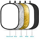 "Neewer 5-in-1 Oval 80X120cm/31""x47"" Professional Collapsible Multi-Disc Light Reflector with Translucent, Silver, Black, Gold, White surface"