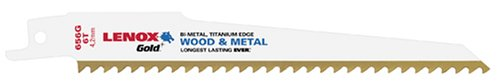 LENOX Tools 21074B656GR Gold Power Arc Reciprocating Saw Blade, For Wood, Nail-Embedded Wood Cutting, 6-inch, 6 TPI, 25-Pack (Cutting Sawzall)