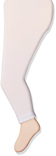 Jefferies Socks Girls' Little Cotton Footless Tights with Scalloped Edge, White, 10-14 Years ()