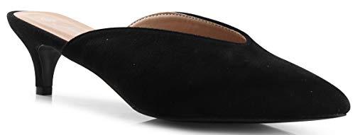 LUSTHAVE Women's Pamela Slip On V Cut Pointy Toe Mules Kitten Mid Heel Loafer Sandals Shoes Black 8 (Kitten Mule)