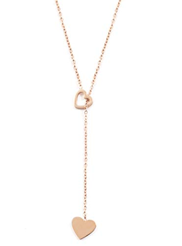 (Happiness Boutique Y Necklace with Heart Pendants in Rose Gold | Delicate Lariat Necklace Stainless)
