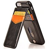 Generic New HENG Tech Crazy Horse Wallet Leather Case Back Cover for iPhone 7 Plus 5.5'' - Black