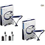 (2x Pack - Samsung Level U Neckband Bluetooth with 2x Universal 1Amp Car Charger - (Retail Packing))