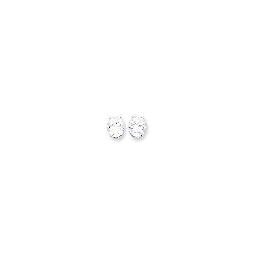 (14k White Gold 12x10 Oval Earring Mountings Length 12 Width 10)