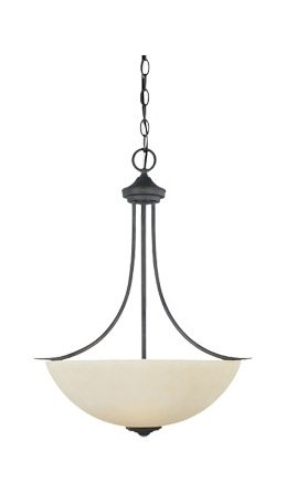 Oil Rubbed Bronze Three Light Bowl Pendant from The Montego Collection