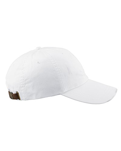 Adams 6-Panel Washed Pigment-Dyed Cap, White, (Unstructured 6 Panel Garment)