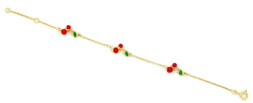 14k Yellow Gold 5.75 Inch Adjustable Three Cherries Enamel Baby Id Bracelet - Measures 7mm by JewelryWeb