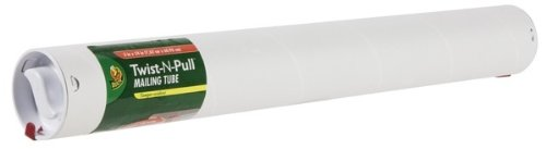 Duck Brand Twist-N-Pull Tamper-Evident Mailing Tube, 2 x 18 Inches, White, 12-Pack (1176733)