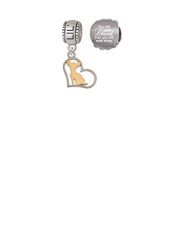 Two Tone Chihuahua Silhouette Heart Lil Sister Charm Bead with You Are More Loved Bead (Set of (Lil Chihuahua)