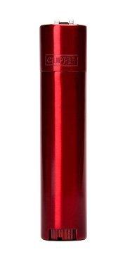 solid metal flint ignition clipper lighter red colour brushed