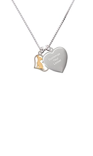 Two Tone Chihuahua Silhouette Heart Custom Engraved Heart Locket Necklace
