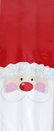 Christmas Santa Cello Treat Bags with Ties Includes 20 Bags - 4
