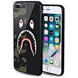 iPhone 7/8 Plus Shark Face Half Camo Case Street Fashion, Auroo Ferret Tempered Glass Back Case, Fashion Hard Glass Back Cover Soft TPU Bumper Frame Anti-Fingerprints Protective Case 5.5