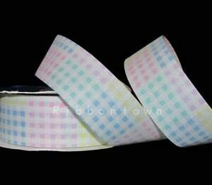 20 Yards Pastel Pink Blue Yellow Easter Baby Gingham Cut Edge Craft Ribbon 1 1/2 Florist, Flowers, Arts & Crafts Gift Wrapping