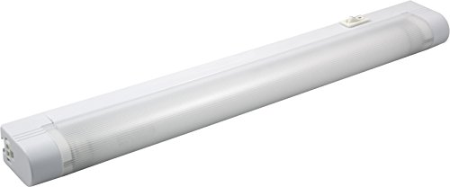 GE Slim Line 14 Inch Fluorescent Under Cabinet Light Fixture, Plug In, Linkable, Warm White, Plastic Housing, Slim Design, 5 Foot Cord, Perfect for Kitchen, Office, Garage, Workbench and more, 10168 by GE