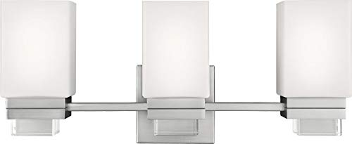 Feiss VS20603SN Maddison Glass Wall Sconce Lighting, Satin Nickel, 3-Light 22 W x 9 H 225watts