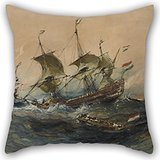Alphadecor Oil Painting Eugène Isabey - Dutch Ships In A Storm Throw Pillow Case 18 X 18 Inches / 45 By 45 Cm Best Choice For Kids Room,wife,boy Friend,kids Boys,teens,pub With Two Sides