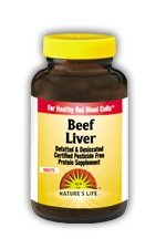 Nature de foie de boeuf vie, dégraissée et desséchée, 1500 mg, 100 comprimés,