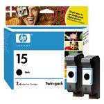HP No. 15 Black Ink Cartridge Twin Pack (C6653BN)