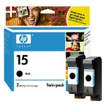 HP No. 15 Black Ink Cartridge Twin Pack (C6653BN) (Hp No 15 Twin)