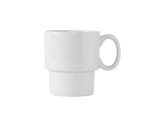 Tuxton BPM-1003 Vitrified China Stackable Mug, 10 oz, Porcelain White (Pack of 24),