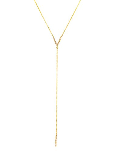 0.07ct Pavé Diamonds in 14kt Gold Letter V & Bar Drop Lariat Necklace (18, yellow-gold) by UltimateChoice