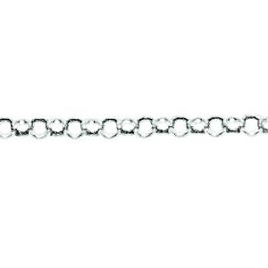 10K Solid White Gold Rolo Anklet 2.3mm thick 10 Inches